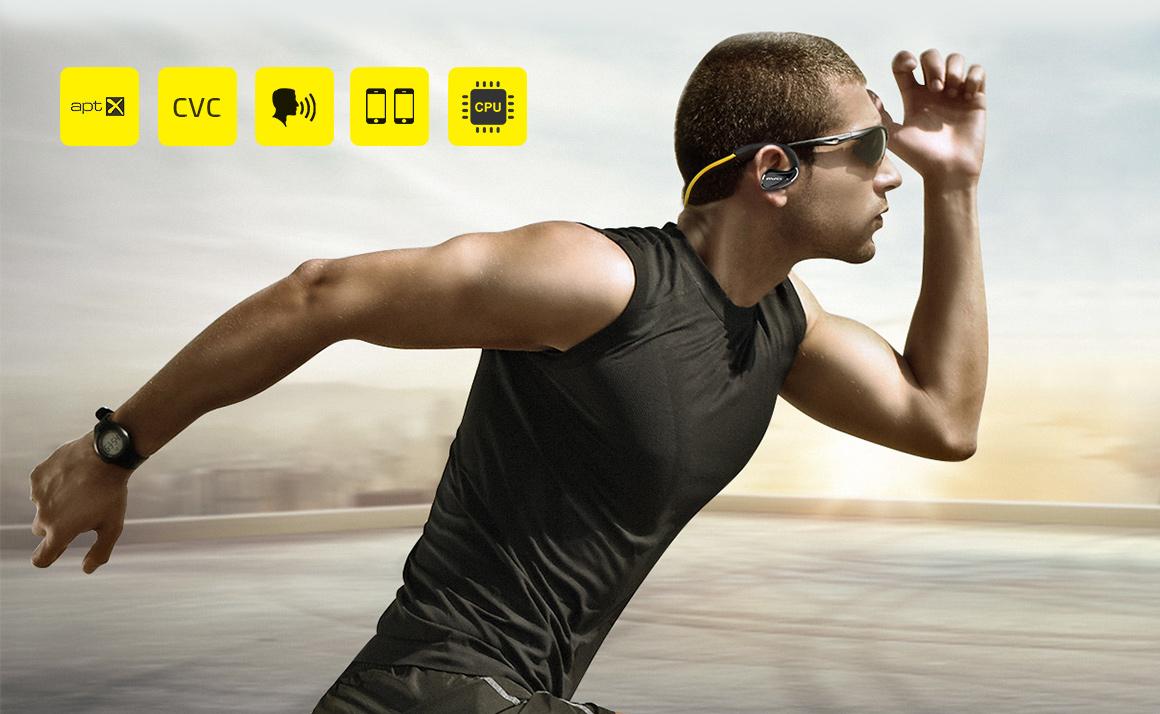 Awei A880BL bezdratova sluchatka za usi na behani.