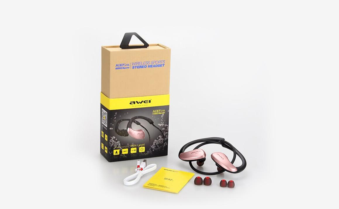 Krásne ružové bezdrôtové kôstky za uši Awei A885bl v darčekovej krabičke