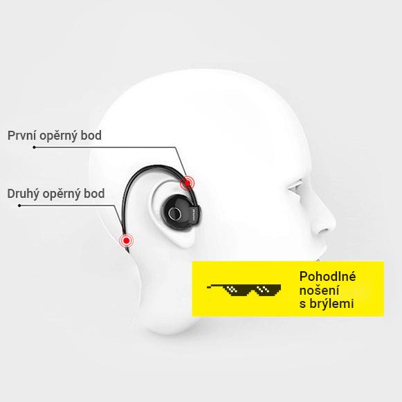 Bezdrôtová Bluetooth sluchatka za uši na behanie a šport sa slnečnými alebo optickými okuliarmi.