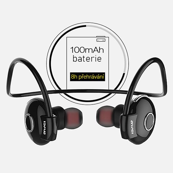 Bezdrôtová Bluetooth slúchadlá za uši s dlhou výdržou Awei A845BL