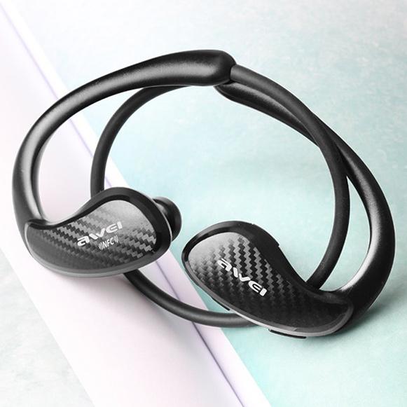 Čierna Carbon - karbónová slúchadlá krásna bezdrôtové slúchadlá do uší Awei A881BL s dekorom Karbonu.