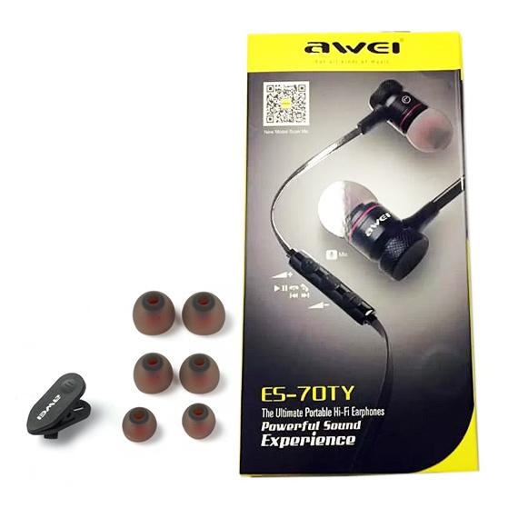 Bohaté balenie káblových slúchadiel Awei ES 70TY je vhodné aj ako darček.