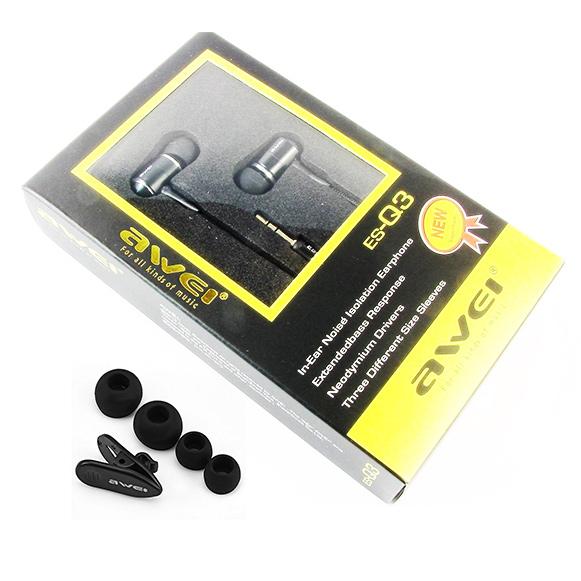 Bohaté balenie lacných káblových slúchadiel do uší.  Awei ES Q3