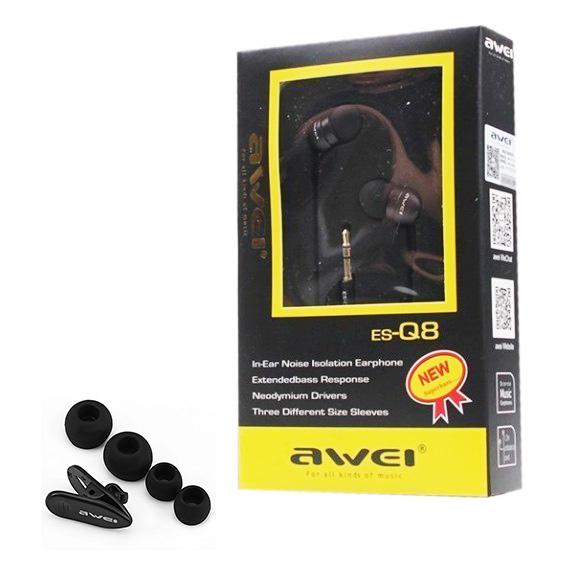 Pekná malá škatuľka s bohatým príslušenstvom pre malé slúchadlá do uší Awei ES Q8.