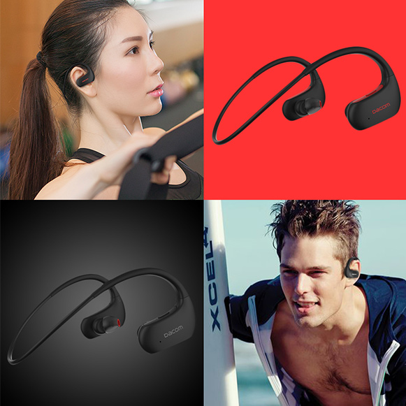 Červená bezdrôtová Bluetooth slúchadlá a čierna slúchadlá.  Vhodná pre ženy i mužov na behanie.  Dacom Athlete L05.