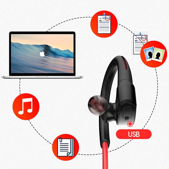 Slúchadlá Bluetooth 4.2 bezdrôtová s prehrávačom do uší MP3 pre iOS apple iPod Android Windows.