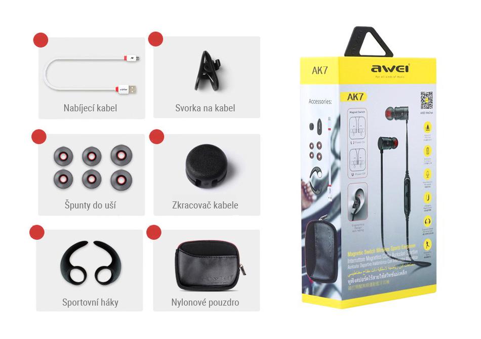 Darčekové balenie slúchadiel Awei AK7 včeteně puzdra a športových nástavcov do uší.