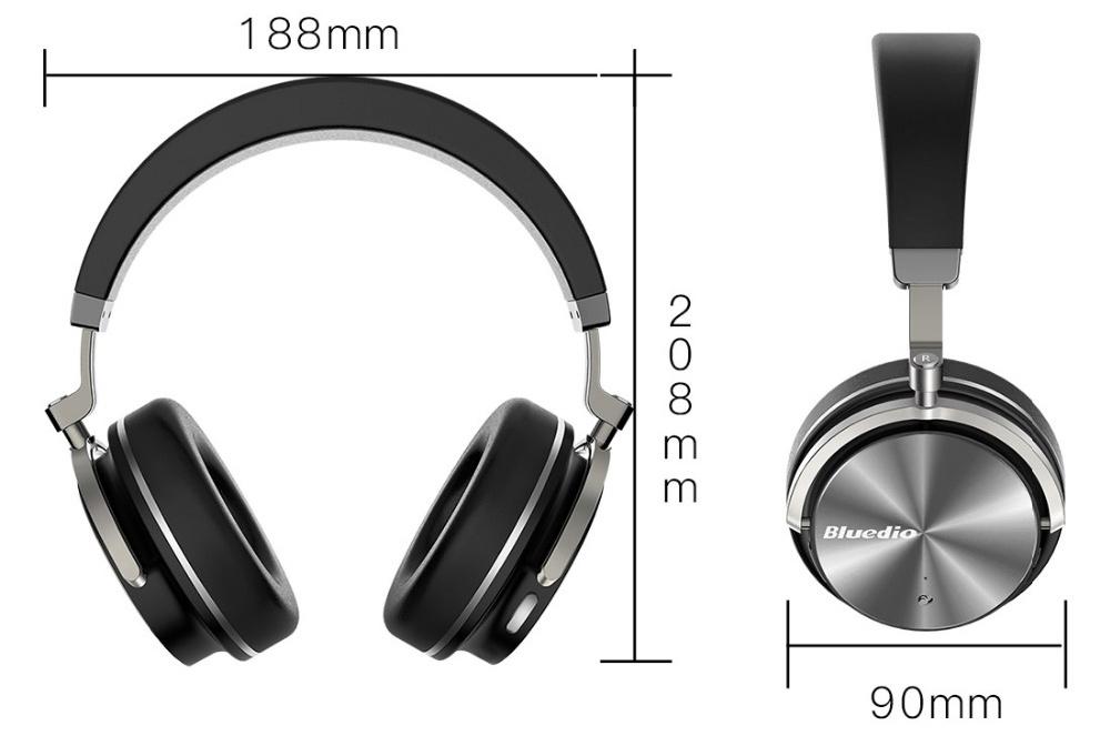 Veľká bezdrôtová Bluetooth slúchadlá cez hlavu s dlhou výdržou Bluedio T4S - rozmery slúchadiel.