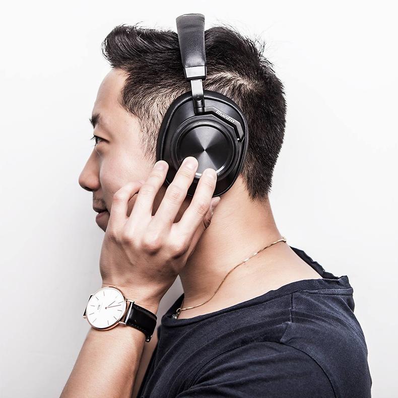 Pohodlná bezdrôtová slúchadlá s veľkými náušníkmi, klapky cez uši.  Bluedio T6