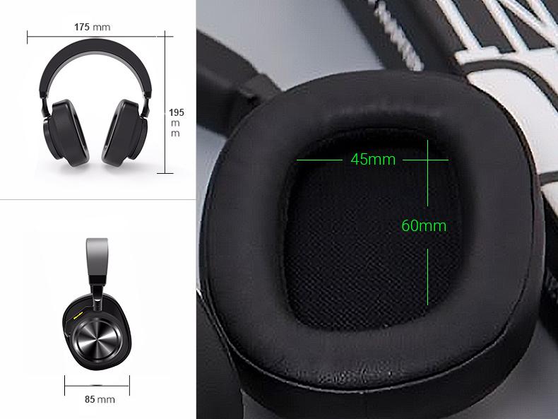 Bezdrôtové slúchadlá cez hlavu s veľkými náušníkmi možno ľahko prenášať Bluedio T6