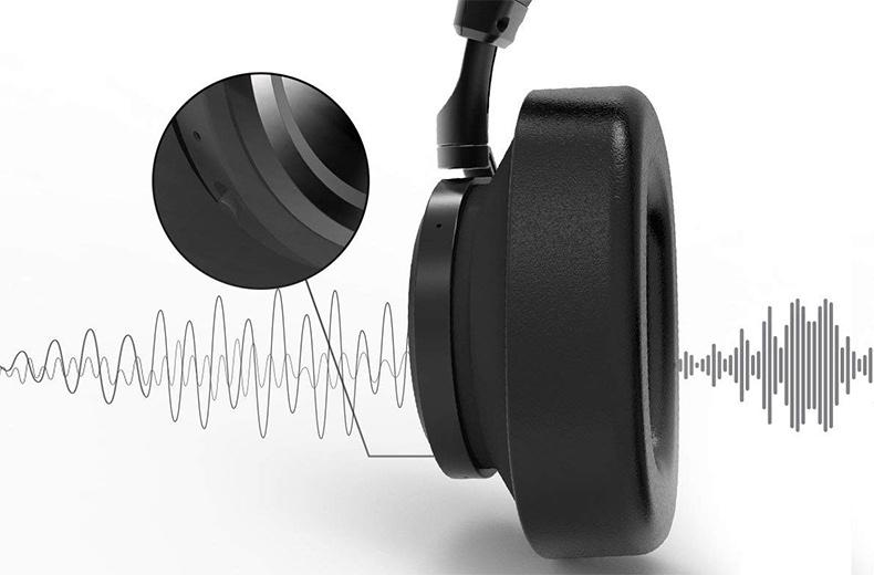 Slúchadlá cez hlavu s funkciou ANC aktívnou filtrácia okolitého hluku, šumu.