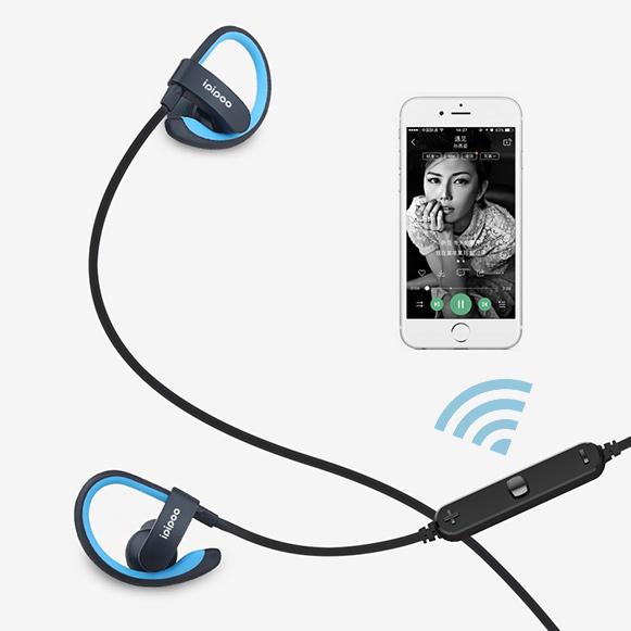 Bezdrôtová Bluetooth 4.2 slúchadlá s ovládačom hlasitosti mikrofónom a preskakovaním pesničiek športové kôstky Ipipoo IL98BL.