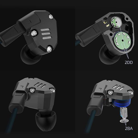 Hybridné sluchatka do uší s dynamickými a tlakovými meničmi KZ ZS6 2DD 2BA.