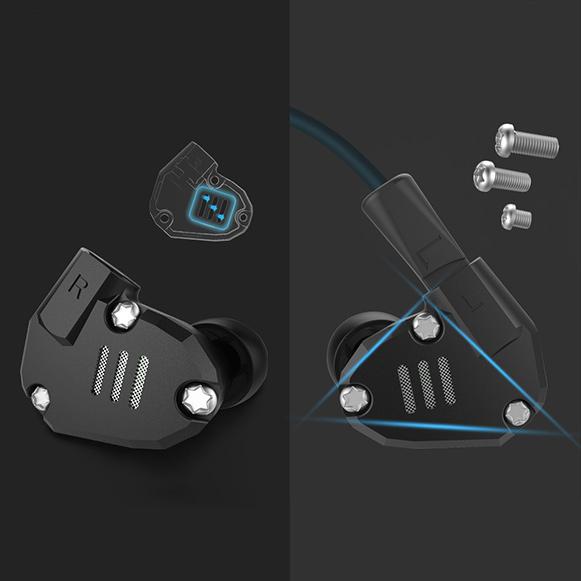 Luxusné slúchadlá do uší kovová hliníková KZ ZS6.