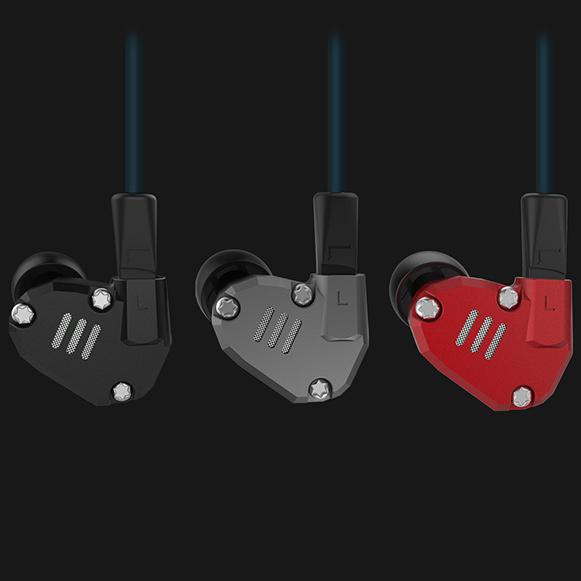 KZ ZS6 slúchadlá do uší čierna, sivá a červená.