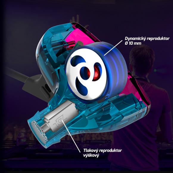 Hybridné sluchatka do usi s dvoma reproduktormi dynamickým a tlakovým - dynamic armature.