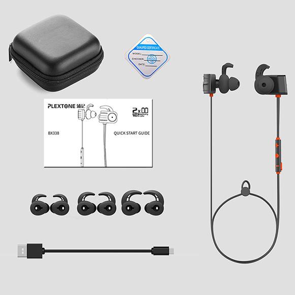 Bohaté darčekové balenie bezdrôtových slúchadiel do uší Plextone BX338.