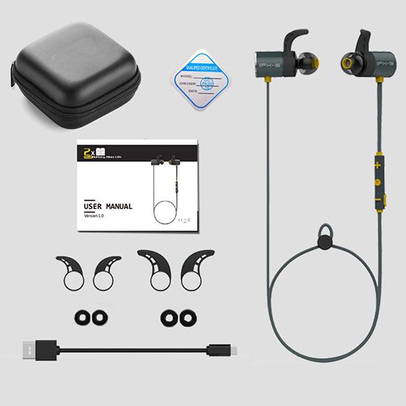 Bezdrôtová Bluetooth slúchadlá do uší Plextone BX343 športové sivá s bohatým príslušenstvom, český manuál, krabička.