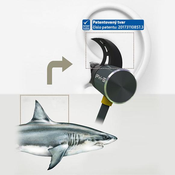 Bezdrôtové slúchadlá do uší s patentovanými športovými hákmi pre uchytenie do ucha.