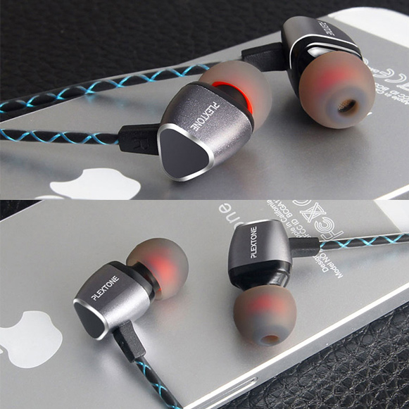 Kovová slúchadlá do uší luxusný vzhľad, kovové telo Plextone X36M.