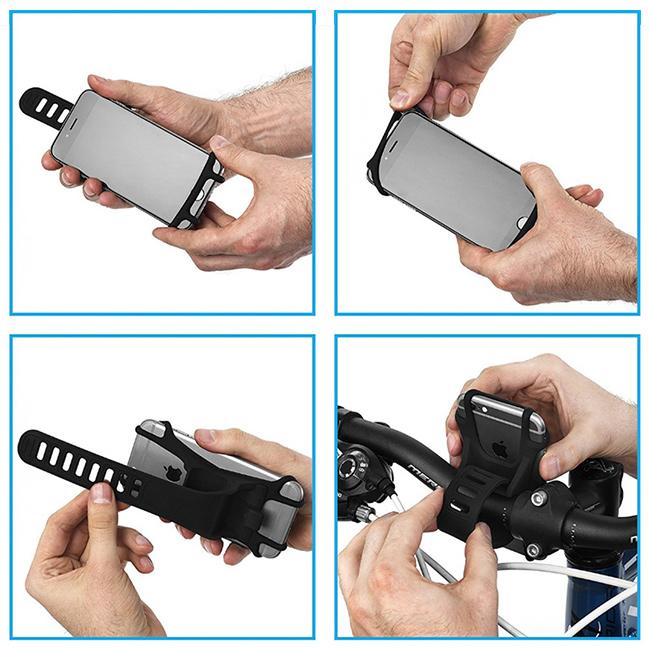 Silikónový držiak na mobil na bicykel s rýchlou jednoduchou inštaláciou.