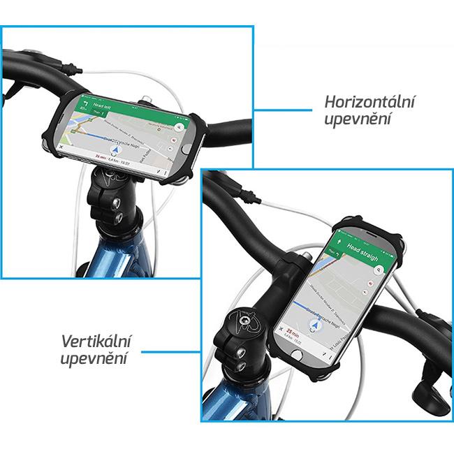 Vertikálne alebo horizontálne upevnenie držiaku na mobil na riadidlá.
