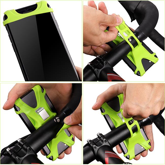 Silikónový držiak mobilu na bicykel, jednoduchý bez náradia.