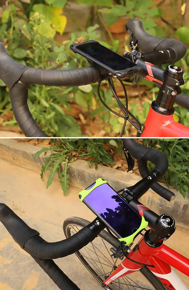 Pekný silikónový držiak na mobil na bicykel zelený a čierny.  Gumový, elastický, pružný držiačik mobilu West Biking.