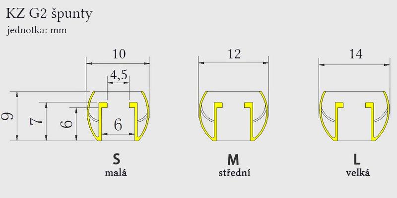 Detailné rozmery nástavcov, náhradných koncoviek do uší KZ G2.