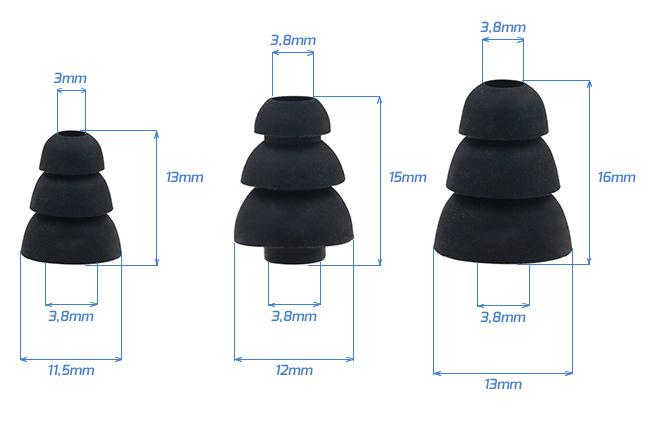 Náhradné špunty na slúchadlá do uší trojvrstvové, vhodné pre menšie malé ucho.