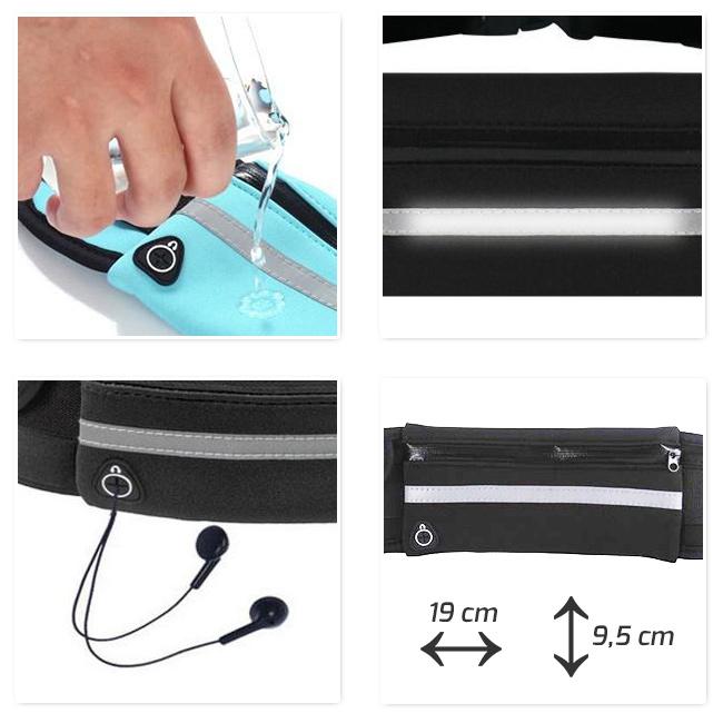 Vode odolná ľadvinka na behanie s reflexným prúžkom, vývodom na slúchadlá a veľkým vreckom.