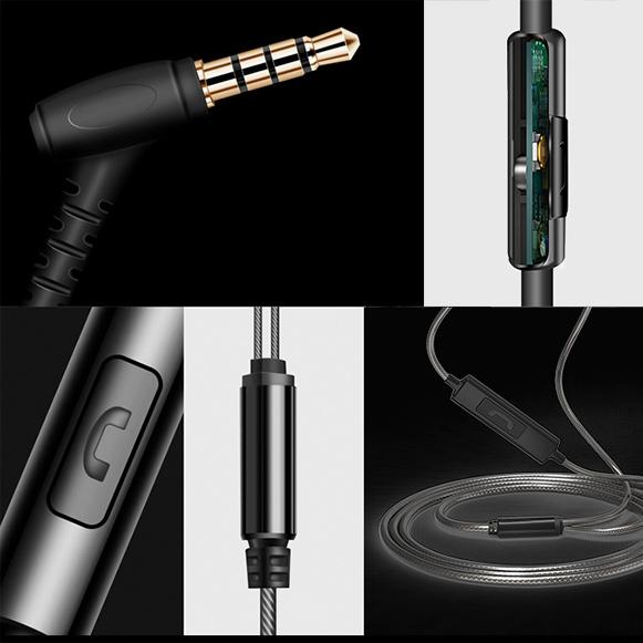 Sluchatka do usi s mikrofónom, kvalitnym káblom a preskakovaním pesničiek.