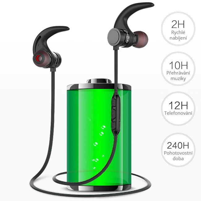 Bluetooth slúchadlá s dlhou výdržou batérie až 12h prehrávania.