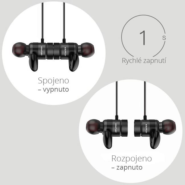 Bezdrôtové slúchadlá do usi s automatickym vypnutím a zapnutím pomocou magnetického spínača.  Magnetické Bluetooth špunty.
