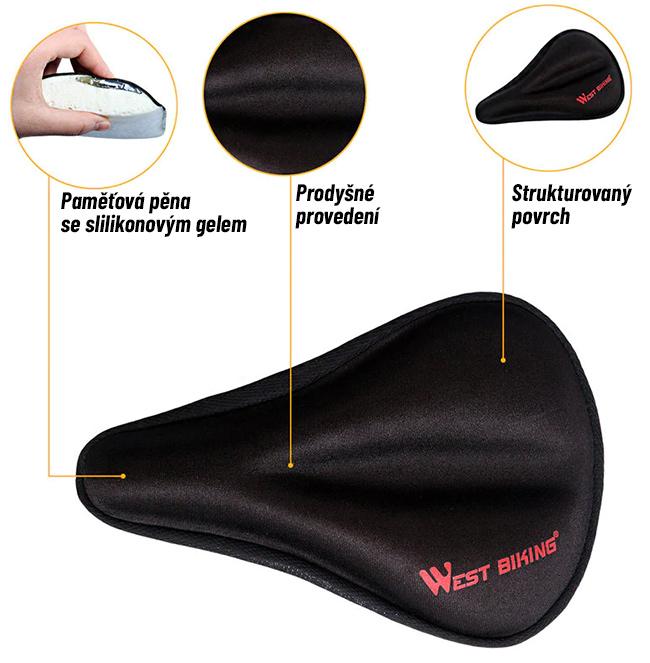 Ergonomicky tvarovaná násada na sedlo na bicykel.  Povlak West Biking.
