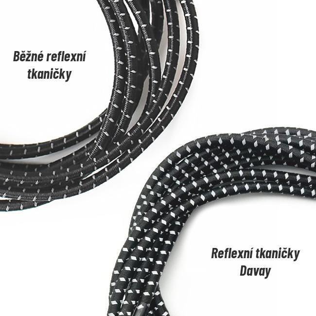 Svietivé elastické šnúrky s odrazkami 3M - reflexné šnúrky Davao Easy lácia so zvýšenou reflexiou.