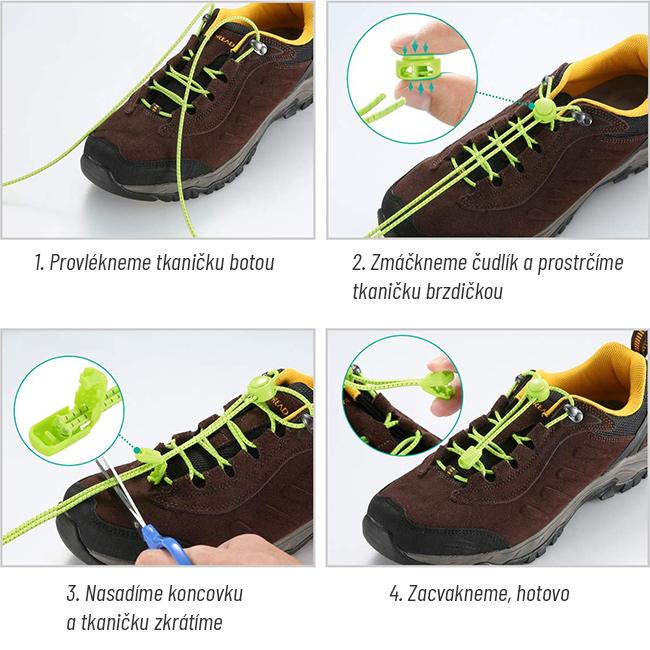 Elastické šnúrky 60cm 80cm 100cm 120cm skracovacie na ľubovoľnú dĺžku do topánok EasyLace dávajú.