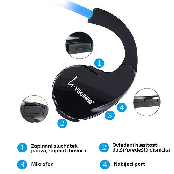 Bezdratová sluchátka s ovládáním písniček, telefonování a s mikrofonem.